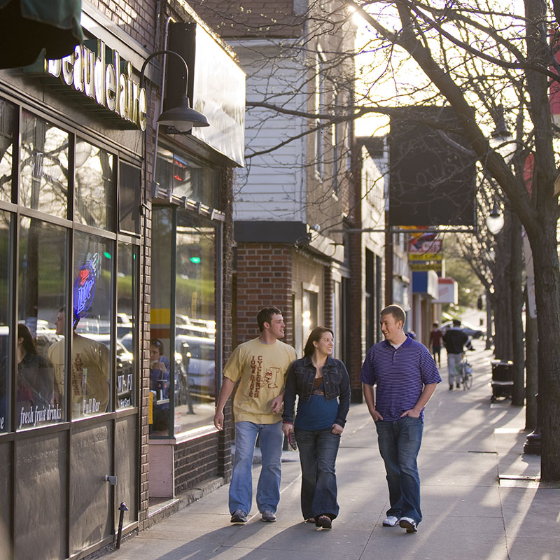 Students walking in campustown